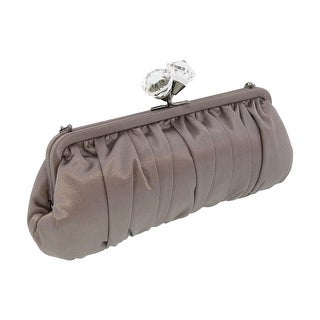 Scheilan Taupe Fabric Ruched Crystal Knot Clutch