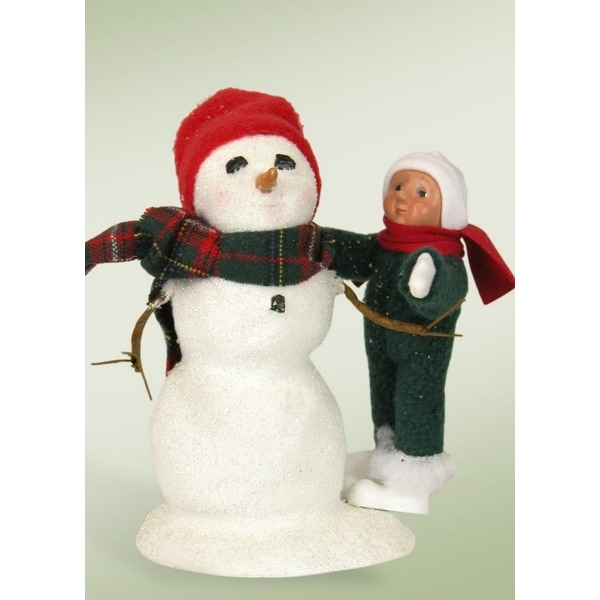 """7"""" Jolly Toddler Building and Decorating a Snowman Christmas Table Top Figure"""