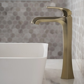 KRAUS Esta Single Handle 1-Hole Vessel Bathroom Faucet w/ Pop Up Drain