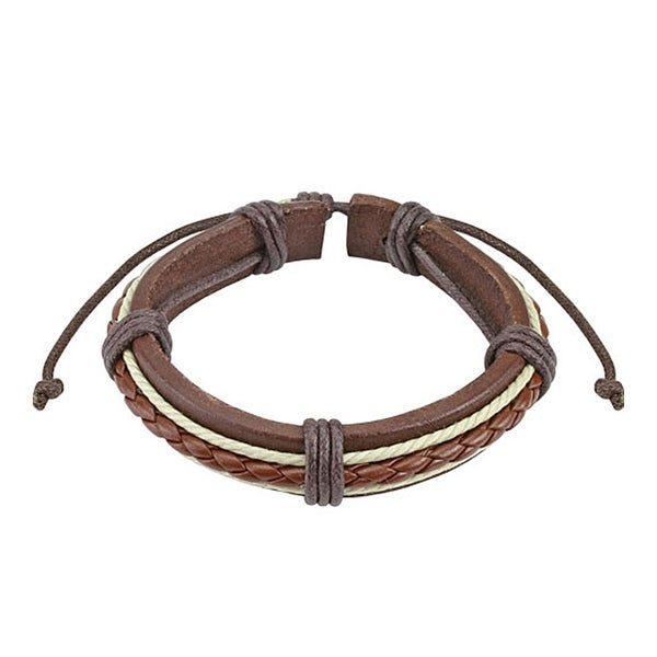 Brown Braided Rope Leather Bracelet with Drawstrings (10 mm) - 7.5 in