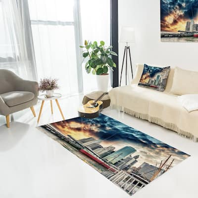 Designart 'Sunset Colors of Manhattan' Cityscape Area Rug