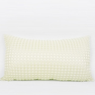 G Home Collection Luxury Beige Textured Checkered Pillow 12X22 (c-down feather insert)