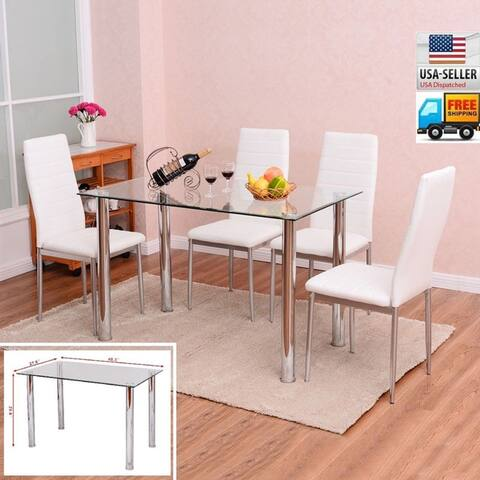 Faux Leather and Glass 5-piece Kitchen Dining Set