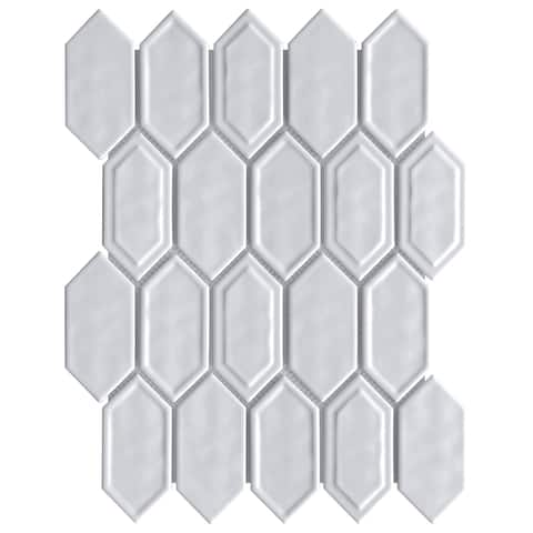 TileGen. Recycle Classic Bianaca Glass Mosaic in White Wall Tile (10 sheets/8.8sqft.)