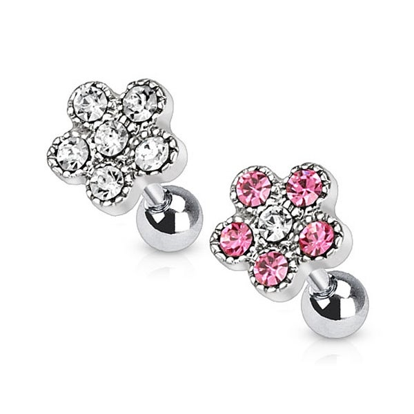 Flower Multi Paved Top 316L Surgical Steel Tragus/Cartilage Barbell (Sold Ind.)