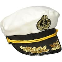 Captain Costume Hat Adult One Size - White