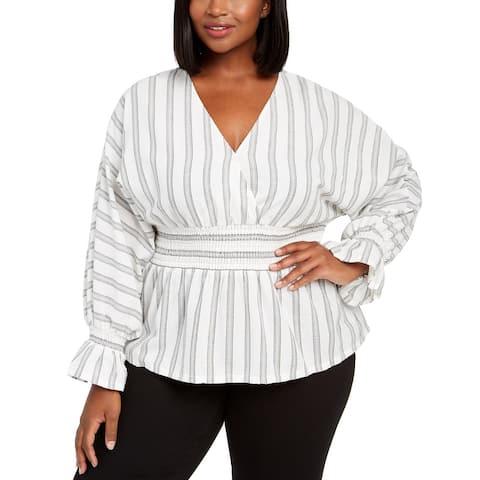 INC International Concepts Women's Smocked Waist Top White Size 3X