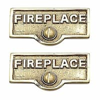 2 Switch Plate Tags FIREPLACE Name Signs Labels Brass   Renovator's Supply
