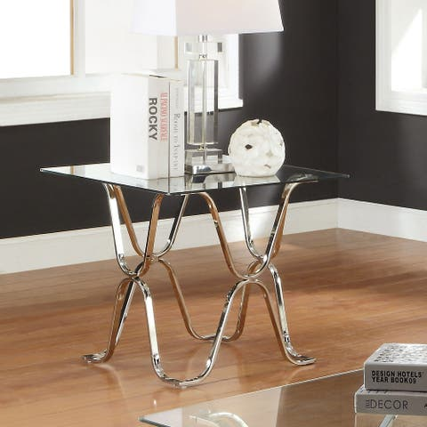 Furniture of America Wass Contemporary Chrome 24-inch Metal End Table