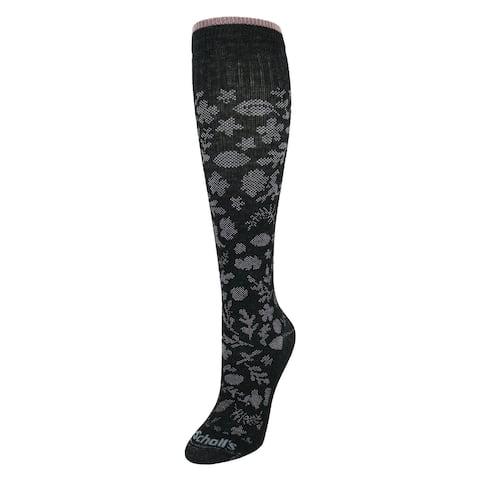 Dr Scholls Women's Lace Floral Pattern Fashion Compression Knee High Socks