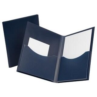 Oxford Double-Stuff Twin-Pocket Portfolio, Letter, 2-Pocket, Navy