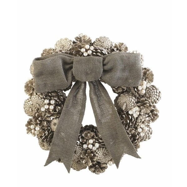 "15.25"" Silent Luxury Vintage Pine Cone, Pearl and Burlap Artificial Christmas Wreath - Unlit"