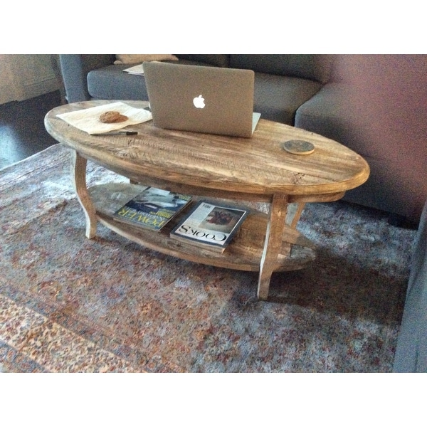 Captivating Alaterre Rustic Reclaimed Wood Oval Coffee Table   Free Shipping Today    Overstock   16806848
