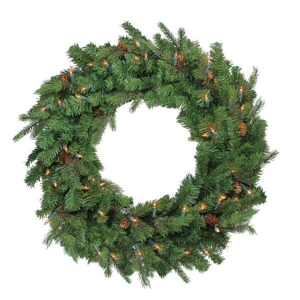 """24"""" Hunter Fir Pre-Lit Artificial Christmas Wreath - Clear Lights - green"""