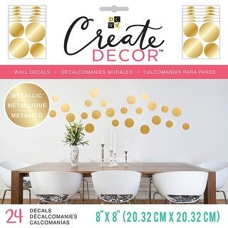 """Dcwv Create Decor Removable Wall Decals 8""""X8""""-Gold Dots, 6 Sheets"""