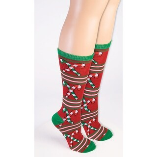 Ugly Christmas Candy Cane Knee High Socks Adult