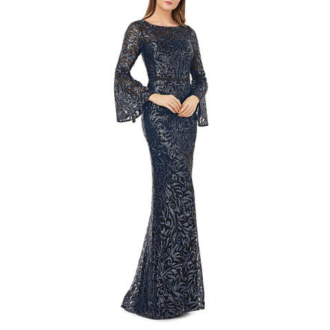 Carmen Marc Valvo Womens Evening Dress Sequined Bell Sleeves - Navy