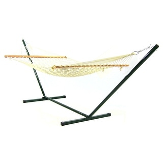Sunnydaze Cotton Single Person 11 Foot Small Spreader Bar Rope Hammock with Stand, 350 Pound Capacity - Antique White