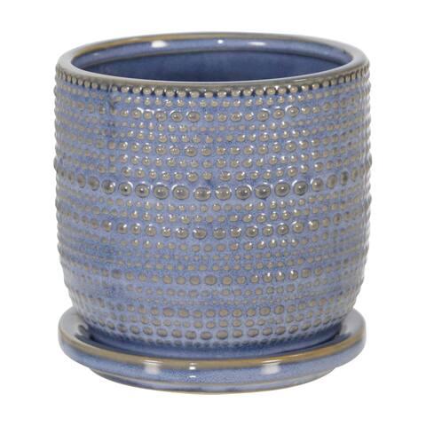 "Ceramic 5"" Textured Planter W/ Saucer, Blue"