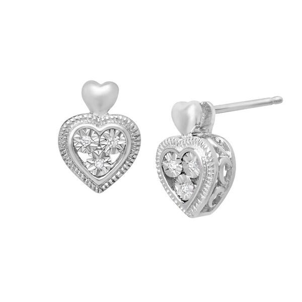 Heart Stud Earrings with Diamonds in Sterling Silver & 10K White Gold
