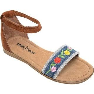 c701604ab5a Quick View.  22.99. Minnetonka Girls  Evie Ankle Strap Sandal Blue  Denim Brown Microsuede