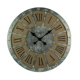 Distressed Metal and Linen Oversize Rustic Wall Clock 28 Inch