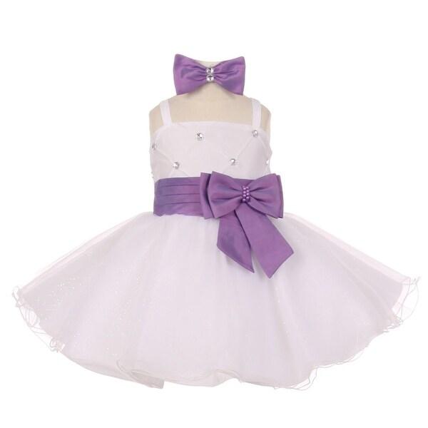 Baby Girls Lavender Beaded Bow Flared Tulle Easter Flower Girl Dress 6-18M
