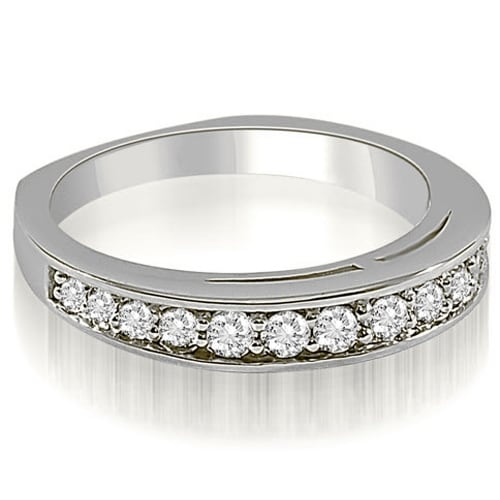 0.50 cttw. 14K White Gold Round Cut Diamond Wedding Ring