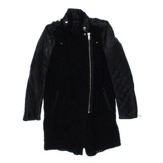 Zara Womens Jacket Leather Wool Blend