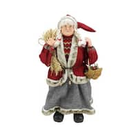 "23.5"" Old World Standing Mrs. Claus Christmas Figure with Basket and Hay - RED"
