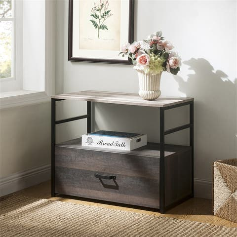 Home office Lateral File Cabinet with Drawer and Top Open Shelf