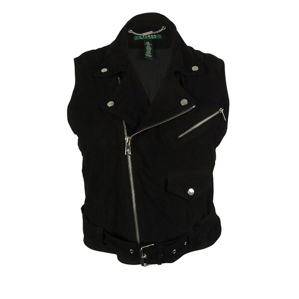 Ralph Lauren Women's 100% Goat Leather Moto Vest - Black - 16