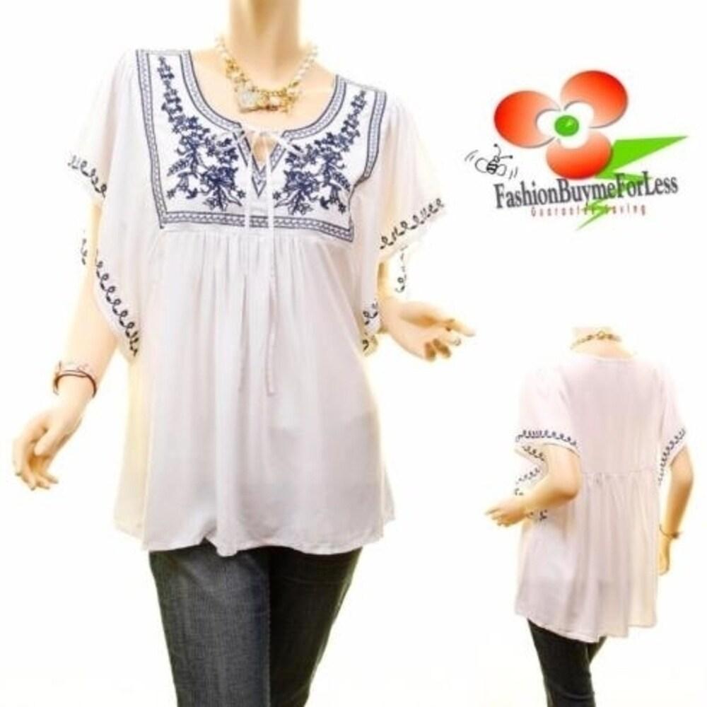 Plus Size Ivory Retro Embroidery Dolman Blouse Peasant Tunic Shirt Top 1X 2X 3X