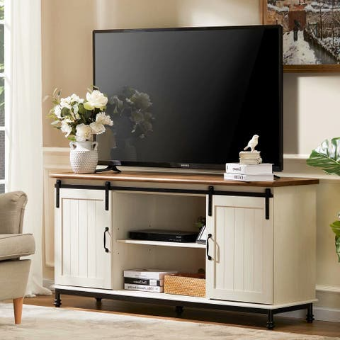 """WAMPAT Farmhouse TV Stand Sliding Barn Door Wood Console for TVs Up to 65"""""""