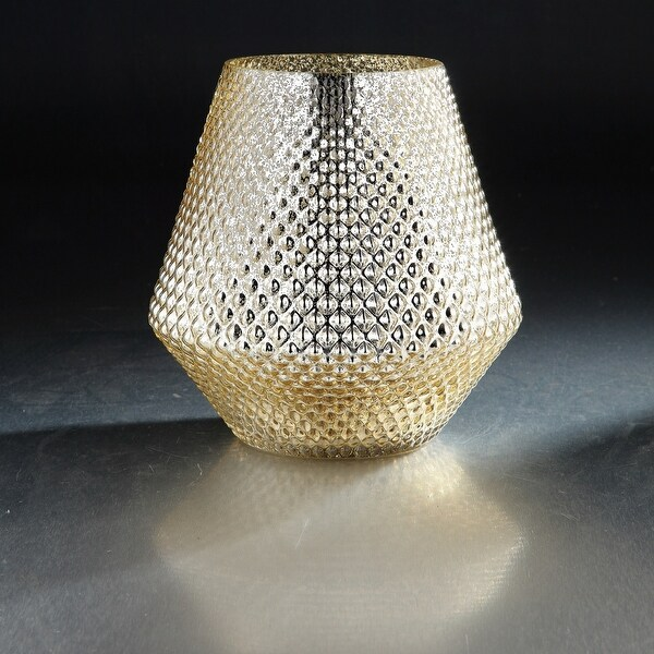 "9"" Golden Color Textured Hand Blown Glass Flower Vase - N/A"
