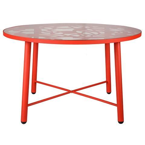 LeisureMod Devon Round Glass Top Aluminum Base Outdoor Dining Table - 47.25 x 47.25