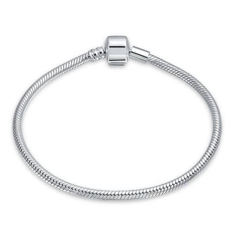 925 Sterling Silver Starter Snake Chain Bracelet For Women For Teen Fits European Beads Charm 6 6.5 7 7.5 8 8.5 9 Inch