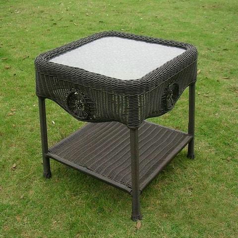 International Caravan Chelsea 18-inch Resin Wicker Side Table