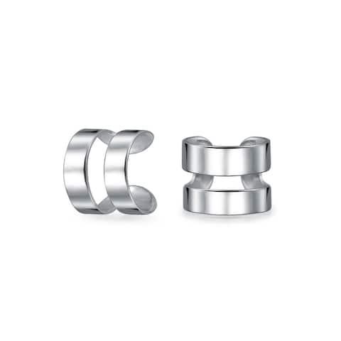 Modern Geometric Two Band Ear Cuffs Earrings 925 Sterling Silver