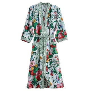 Women's Cottage Garden Robe - Belted Floral Print Kimono - Cotton