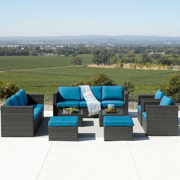 Corvus Trey 12-piece Wicker Patio Sofa Set with Glass Top. Opens flyout.