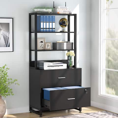 Large File Cabinet Lateral Filing Cabinet with 2 Drawers and Lock, Brown / Black