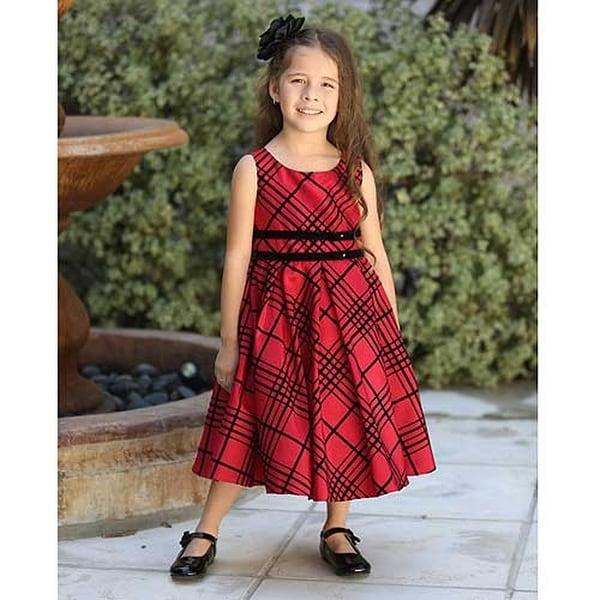 angels garment red black plaid christmas dress little girls size 2t 6