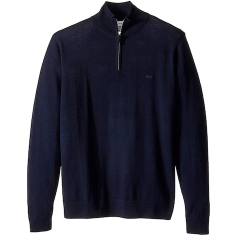 Lacoste Mens Sweater Blue Size XL Mock-Neck 1/2 Zip Wool Pullover