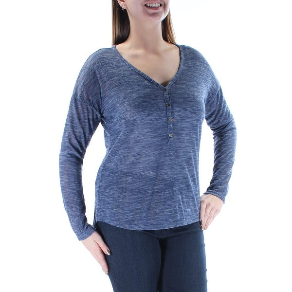 MAISON JULES Womens Navy Long Sleeve V Neck Top Size: L