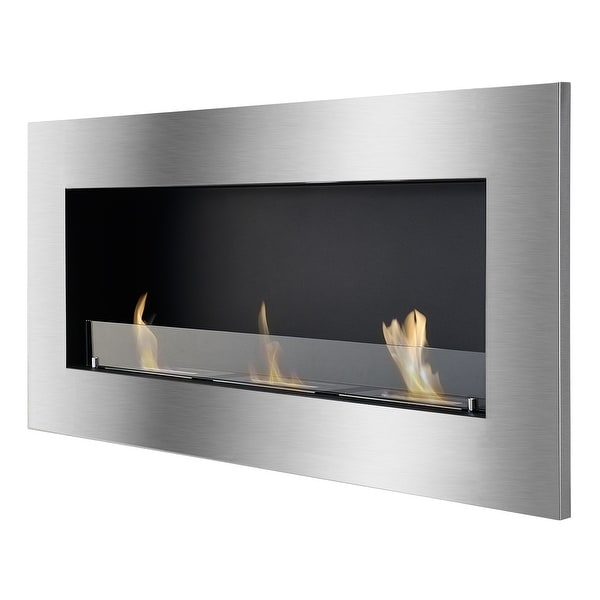 Ignis WMF-013G Optimum Wall Mounted / Recessed Ventless Ethanol Fireplace with Glass Barrier - black, stainless steel