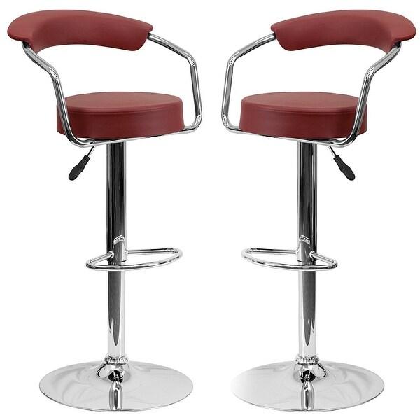 Shop Belleze Modern Bar Stool Set Of 2 Armrest Swivel