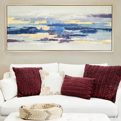 Blue Polystone Modern Framed Wall Art Abstract 32 x 71 x 2 - 71 x 2 x 32