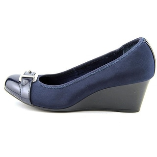 Alfani Womens Wedge TOMIN Fabric Round Toe Wedge Womens Pumps NAVY INK Size 10.5 7ecb1a