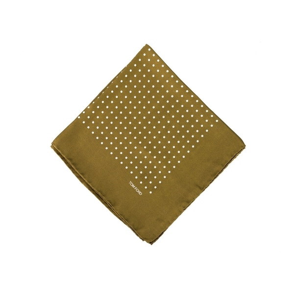 Tom Ford Mens Green Polka Dot Silk Pocket Square